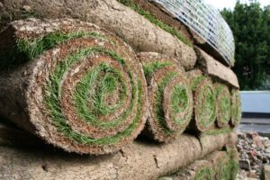 pallet of stacked turf rolls